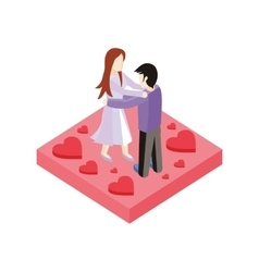 Young love couple dance isometric style design vector