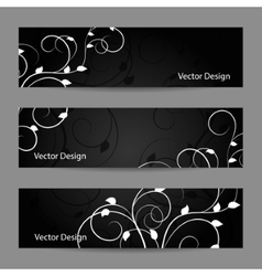 Set of horizontal banners with plant pattern vector