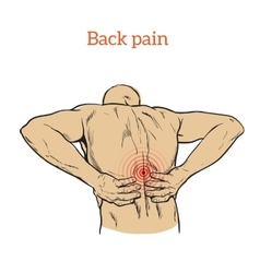 Low back pain in men black and white sketch vector