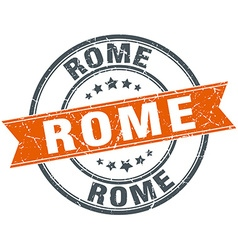 Rome red round grunge vintage ribbon stamp vector