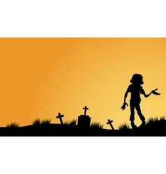 Zombie in tomb halloween backgrounds vector