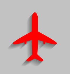 Airplane sign red icon with vector