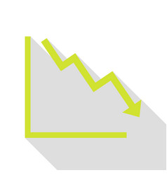 Arrow pointing downwards showing crisis pear icon vector