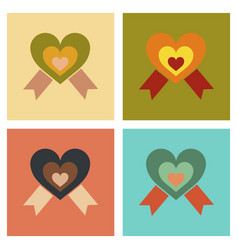 Assembly flat icons rainbow heart vector