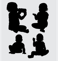 baby action silhouette vector image vector image