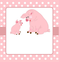 card template with cute pigs vector image vector image