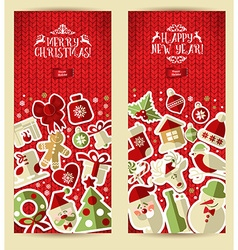Christmas banner set on red knitting texture vector image vector image