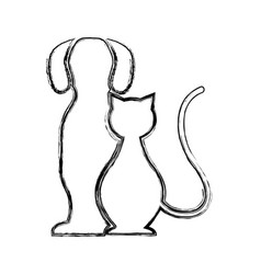 cute dog and cat silhouette isolated icon vector image