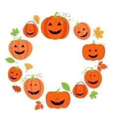 Cute pumpkins frame for halloween vector image vector image