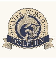 Dolphin Retro Label vector image