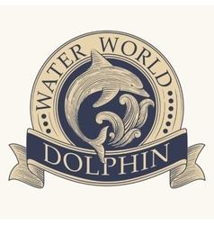 Dolphin retro label vector