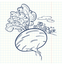 doodle beet and farmer vector image vector image