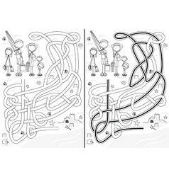 Family maze vector image vector image