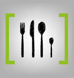 fork spoon and knife sign black scribble vector image