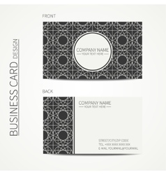Geometric lattice monochrome business card vector