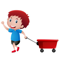 Happy boy pulling red wagon vector