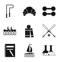 jump rope icons set simple style vector image vector image