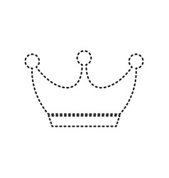 king crown sign black dashed icon on vector image