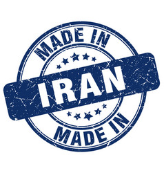 made in iran blue grunge round stamp vector image vector image