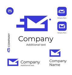 Mail service logo modern letter in envelope vector