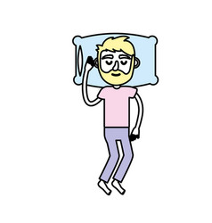 Man with hairstyle desing sleeping vector