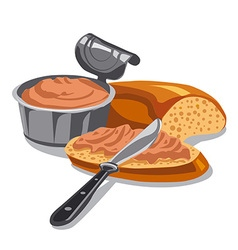 meat pate on sliced bread vector image vector image