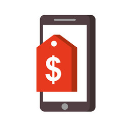 mobile phone online market price tag technology vector image