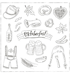 October fest doodle set Vintage vector image