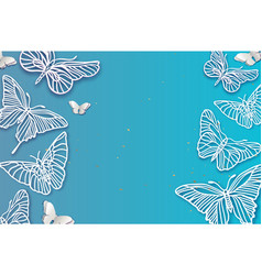 Paper cut butterfly origami insect filigree vector