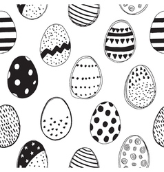 pattern with easter eggs black and white vector image vector image