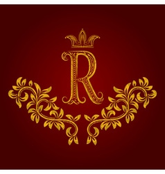 Patterned golden letter r monogram in vintage vector