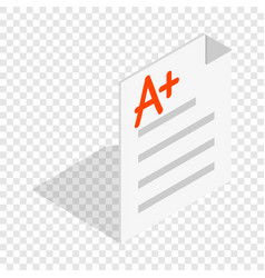 Perfect grade on a paper test isometric icon vector