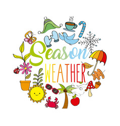 season weather spring winter summer autumn icons vector image