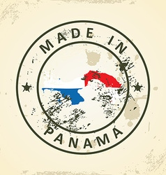 Stamp with map flag of panama vector