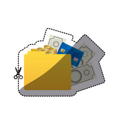 Sticker color silhouette of folder with money vector