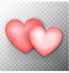 two pink hearts transparent background vector image vector image