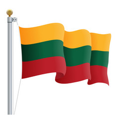 waving lithuania flag isolated on a white vector image