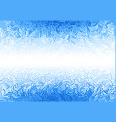 Winter blue frost pattern on white background vector