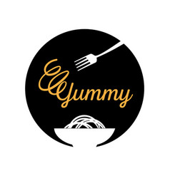 yummy noodle logo with fork vector image