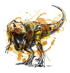 Colored hand sketch tyrannosaurus vector