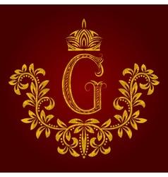 Patterned golden letter G monogram in vintage vector image