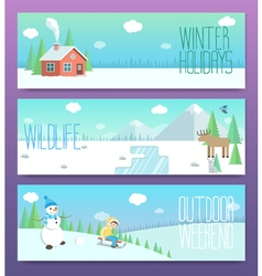 Cute winter banners outdoor weekend holidays vector