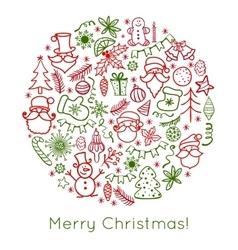 Hand drawn Christmas greeting card with Santa vector image