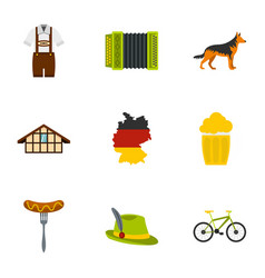Welcome to germany icons set flat style vector