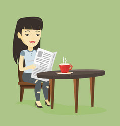 woman reading newspaper and drinking coffee vector image