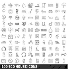 100 eco house icons set outline style vector