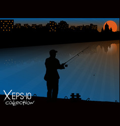 Silhouette of fisherman with fishing rod on pier vector