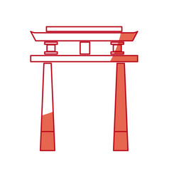 Japanese gate monument antique culture vector