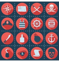 Set of pirate or sea icons vector