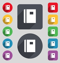 Book icon sign a set of 12 colored buttons and a vector